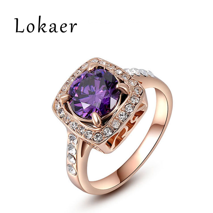 Lokaer Classic 18K Rose Gold Plated Purple Cubic Zirconia Finger Ring For Women Fashion Jewelry Valentine's Day Gift L2010278490(China (Mainland))