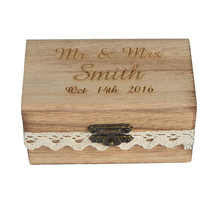 1 piece Personalized Laser Engraved Rustic Bearer Retro Wood Ring Box Wdding Decor Favors PRB01S(China (Mainland))