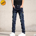 Wholesale Teenagers Jeans Skinny Embroidered patch Hole Ripped Pencil Pants Distressed Boys Stretch Hip Hop Bottoms