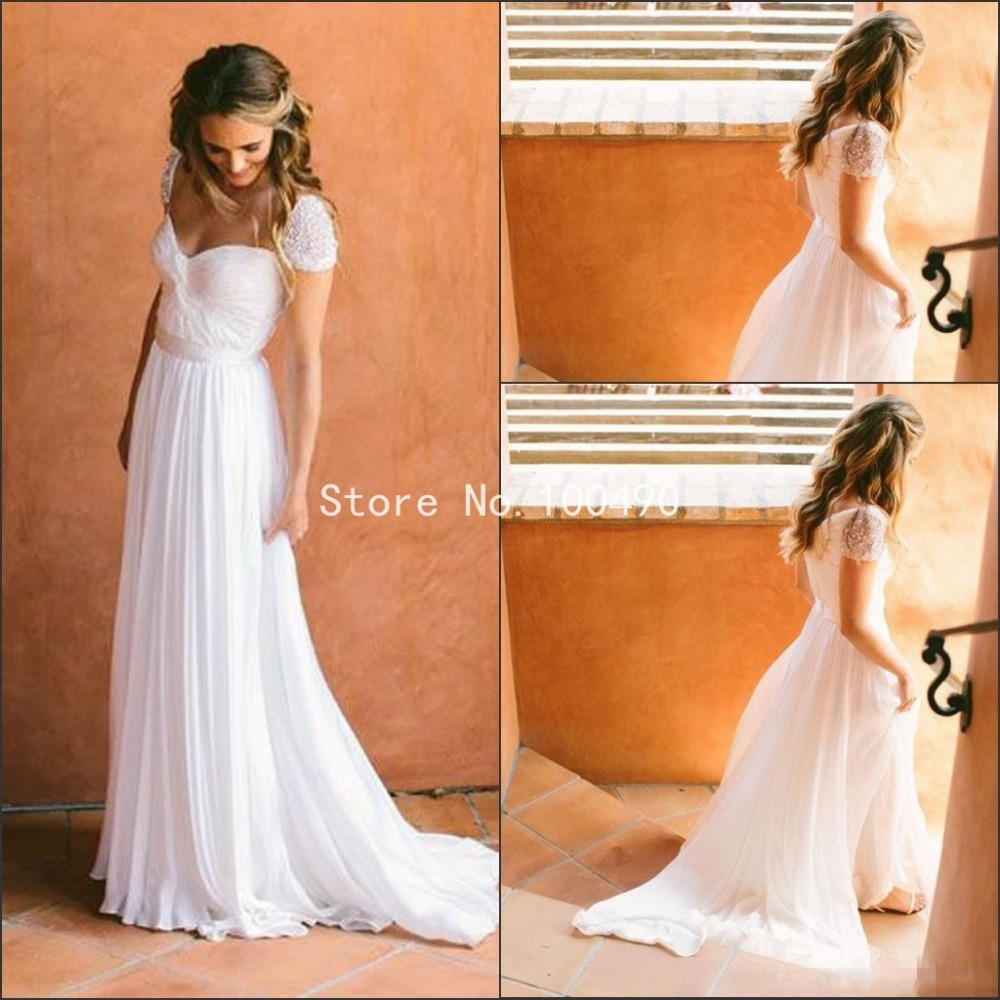 2016 white chiffon wedding dress cheap bridal gowns cap for Cheap chiffon wedding dresses