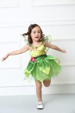 kids girls green elf tinkerbell princess costume children halloween party cosplay flower fairy tinker bell for girls dress with