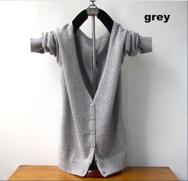 Free shipping 2015 new cashmere cardigan low v-neck sweater render big yards Wild cardigan sweater han edition coat(China (Mainland))