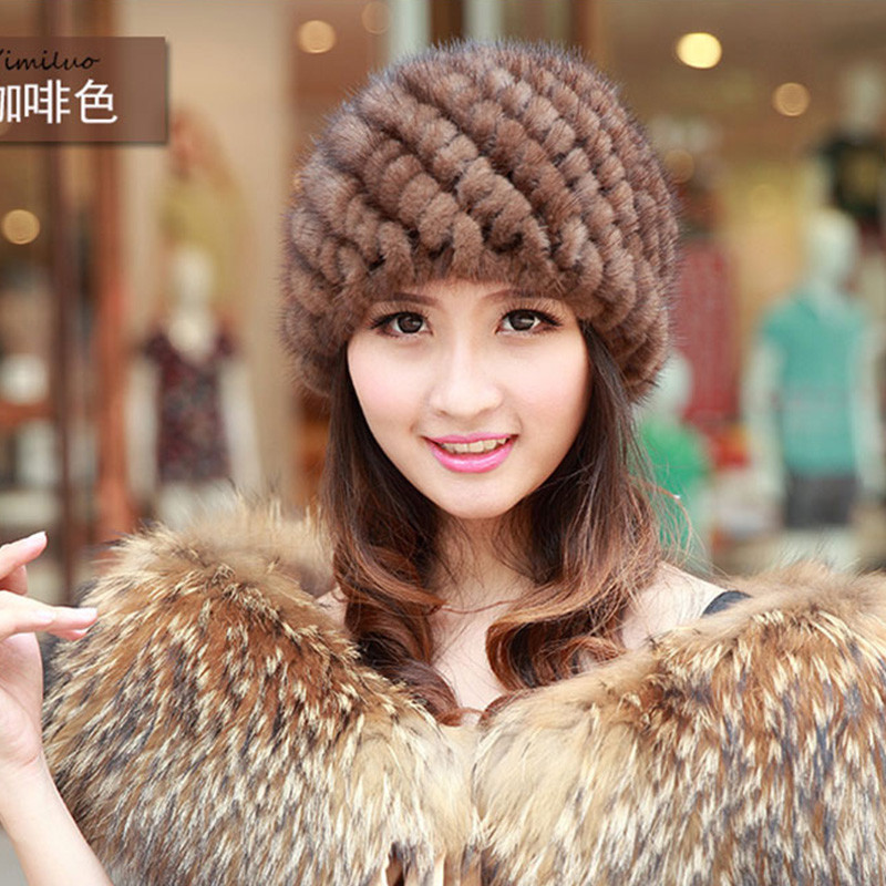 2016 Newest Women's Fashion Real Knitted Rex Rabbit Fur Hats Lady Winter Warm Charm Beanies Caps Female Headgear MZ09(China (Mainland))