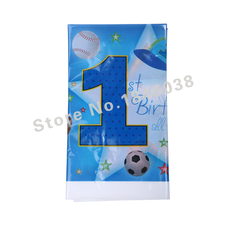 1pcs Lovely 220*132cm disposable Birthday tablecloths 1st sports boy kids happy birthday party plastic tablecover supplies(China (Mainland))