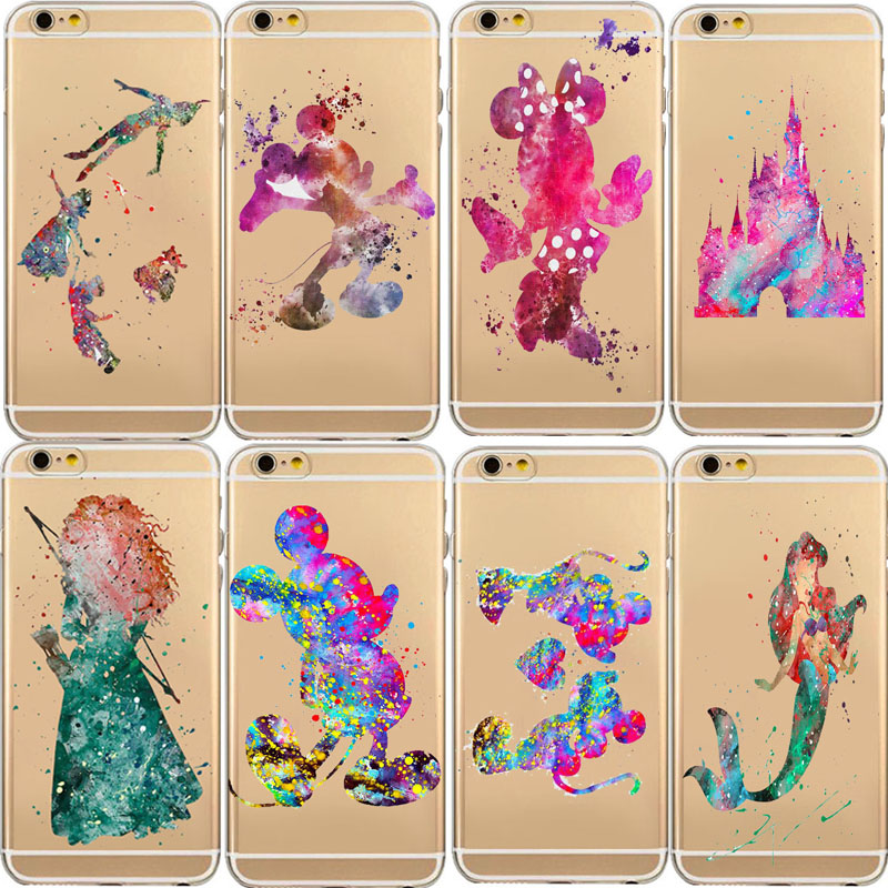 Phone Case Carcasa Back Cover Bags For iPhone 5 5c 5S 6 6S 6plus Ultra Soft Silicon Transparent Fairy Tale Oil Printed TPU