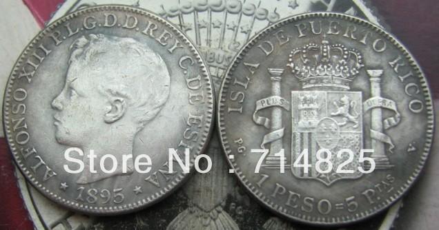 PUERTO RICO 1895 1 PESO COPY COIN FREE SHIPPING(China (Mainland))