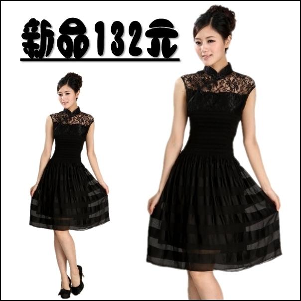 Fashion slim tank dress quality prom lace slim waist sleeveless one-piece dress hot-selling