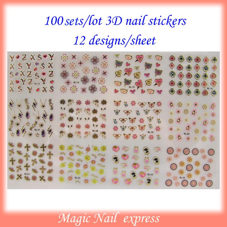 12styles/set New korea style 3D Nail art stickers adhesive nail stickers for decoration nail art gold 100sets/lot nail supply(China (Mainland))