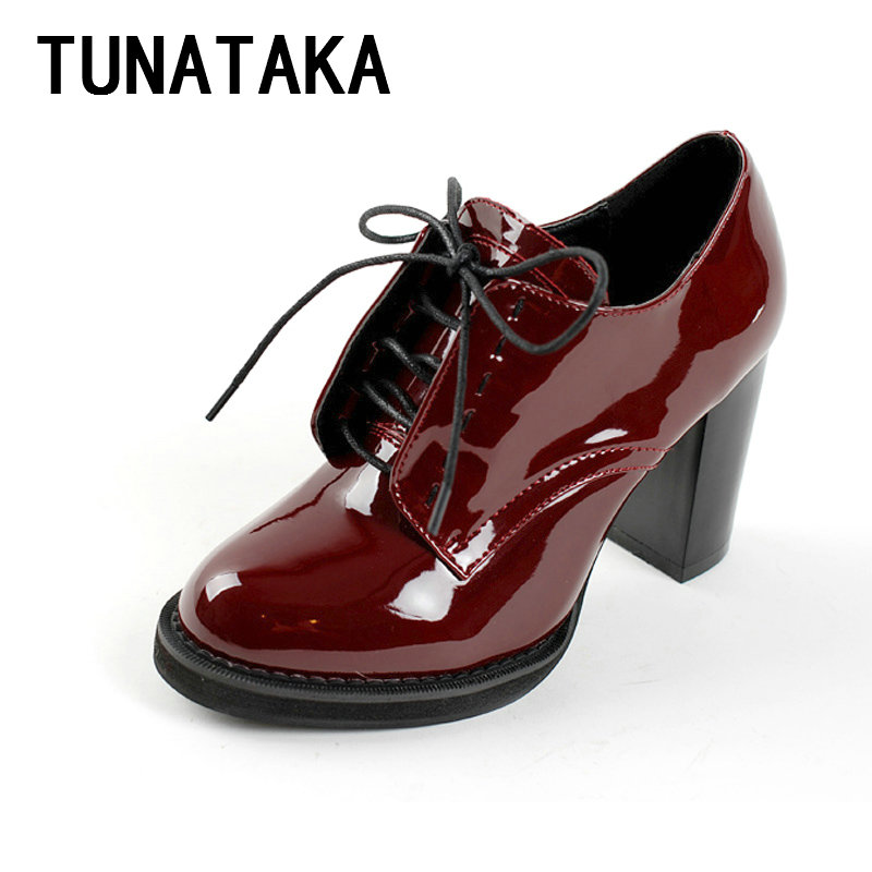 Casual Lace Up Thick High Heel Shoes Fashion Patent Leather Woman Pumps Heels Red Color Plus