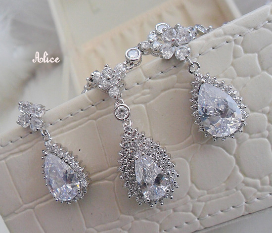 Free Shipping Full Zircon Crystal Rhinestone Inlaying Sparkling Beautiful Women Jewelry Set For Wedding Prom Party