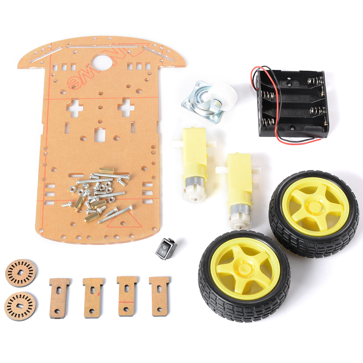 2WD Robot Car Chassis Kit For Arduino Raspberry Pi w/ Encoder and Battery Box TE160(China (Mainland))