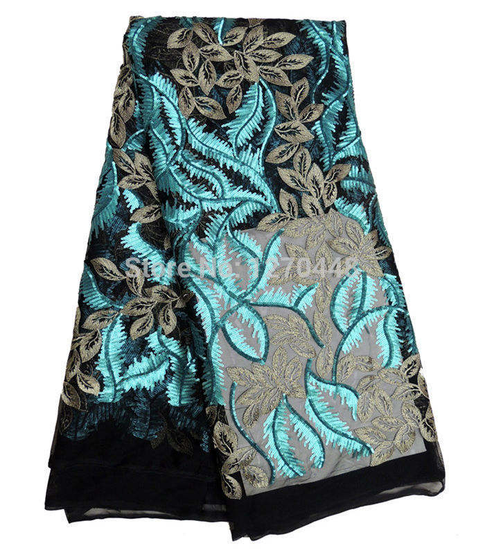 Black + blue sequined design!Beautiful African net and lace, senior French lace fabrics, the latest model net lace dress(China (Mainland))
