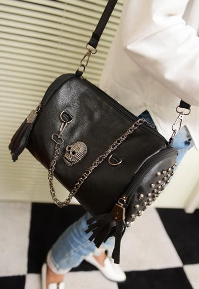 2015 New Hot Women Bags New Women Bag Skull Rivet Tassels Handbag Crossbody Shoulder Satchel Tote