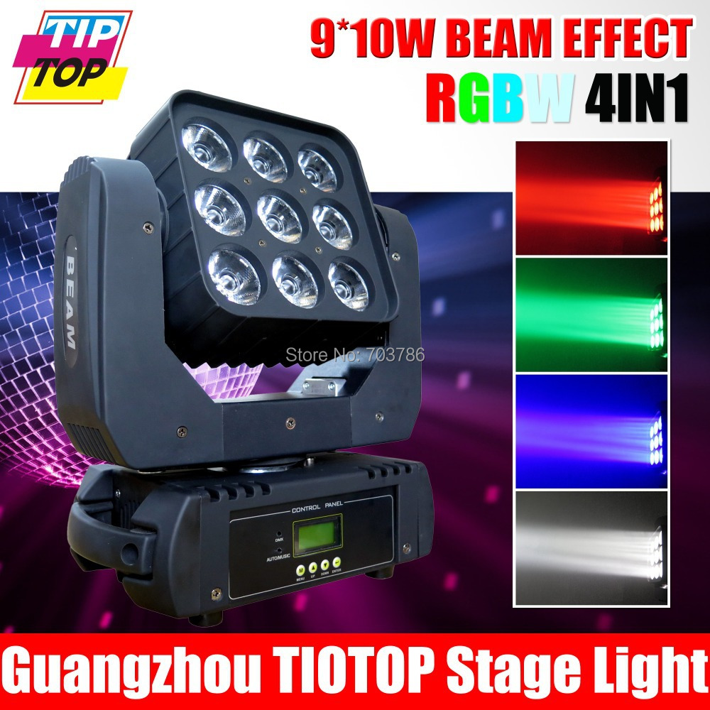 Fedex Free shipping 9*10W 4in1 RGBW Led Stage Light High Power LED Par Can With DMX512 Master Slave Flat DJ Equipment Controller(China (Mainland))
