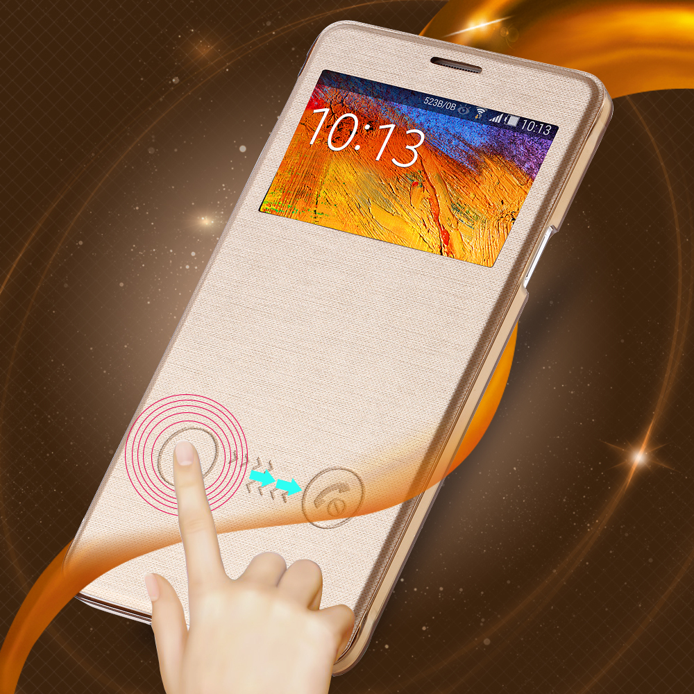 2016 Brand New Gold Flip PU Leather Mobile Phone Case Samsung Galaxy Note 4 N9100 Smart Open View Window Clear Cover - Three-A Group Co.,Ltd store