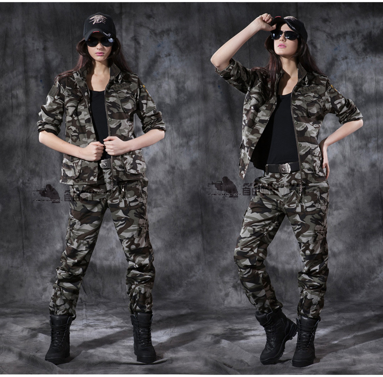 women 101st airborne camouflage military uniform suits outdoor camping climbing hiking suit cotton jacket & pants spring autumn - Anna's holiday store