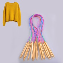 18Pcs/Set Sweater Weaving Tools Colorful 80CM Circular Bamboo Knitting Needles Tube Handcraft Accessories Stock Offer(China (Mainland))