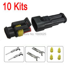 New 10sets Car Part 2 Pin Way Sealed Waterproof Electrical Wire Auto Connector Plug Set(China (Mainland))
