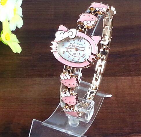 2016 New Hello Kitty Watches Fashion Ladies Quart Watch Vintage Kids Cartoon Wristwatches Analog King Girl Brand Quartz women(China (Mainland))