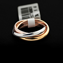 Brand Luxurious White/ Rose Gold Plated Triple Tone Tri-Roll Links Top Classic Design Wedding Band Ring(Jingjing GA062)