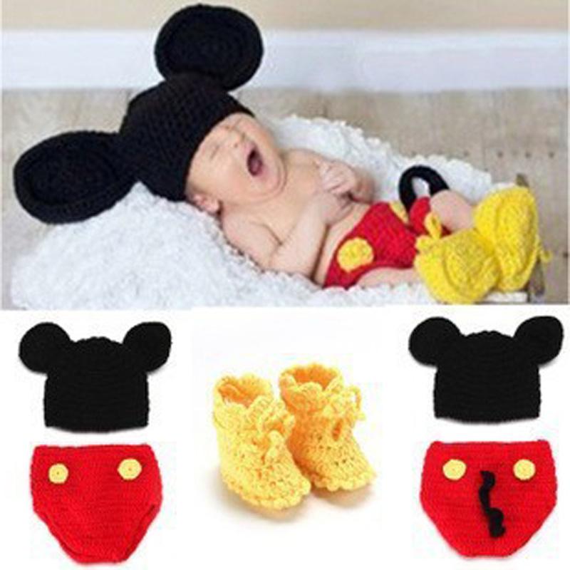 New Hot Sale Character Christmas Newborn One Hundred Days BabyCap Photography Props Clothing Handmade Crochet Knitting Wool Hat(China (Mainland))