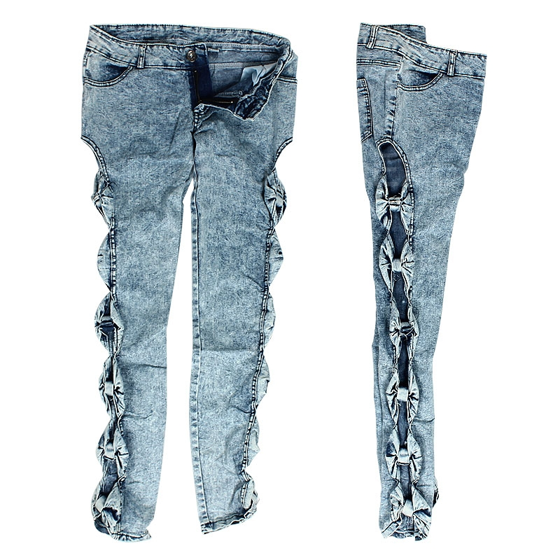 New Hot Selling Girls Sexy Vintage Detailed Side Bow Cutout Denim Jeans Leggings Size S Promotion(China (Mainland))