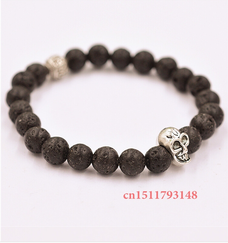 Men's Beaded 2014 Best Quality 8mm Lava Stone Beads Antique Silver and Gold Skull Bracelets Yoga Jewelry Gift(China (Mainland))