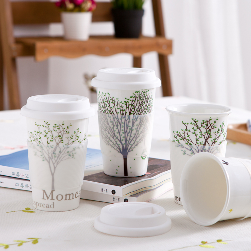 Ceramic cup brief 450ml large capacity coffee mug milk cup lovers cup with cover lid & spoon white tree pattern heat protection(China (Mainland))