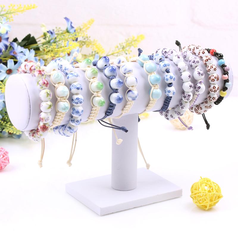 White T-bar Velvet Jewelry Bracelet Display Shelf Necklace Holder Watch Stand Bangle Organizer Bracelets Rack Free Shipping(China (Mainland))
