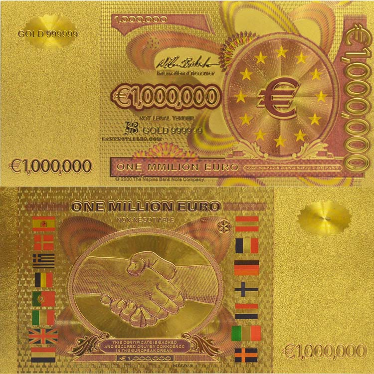 Top-Quality-1-Million-Colored-Euro-Banknote-24k-Gold-Foil ...