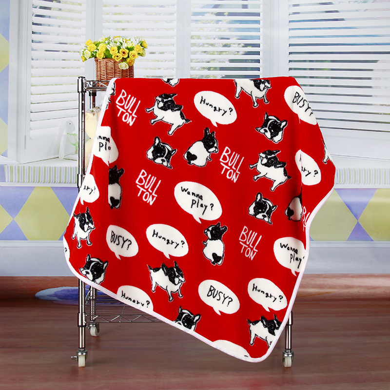 100x75cm Warm Pet Beds Cover Mat Thickened Coral Fleece Dog Blanket Soft BullDog Printed Quilt For Small Medium Large Puppy Dogs(China (Mainland))