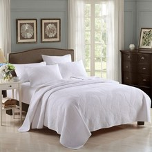 NEW Adult white quilt cover Quilt Set Add size 3Pcs/set embroidery cotton Double summer Set use room home Dec FG202(China (Mainland))