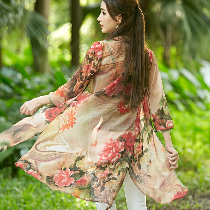 C45 Summer Autumn Chinese folk ethnic style faux silk print floral Women's cardigan Coat chiffon pankou Jacket(China (Mainland))