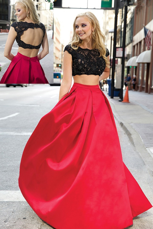 2016 new style hot new discount gorgeous sexy backless two piece set balck and red prom dresses prom dress gown formal dress(China (Mainland))