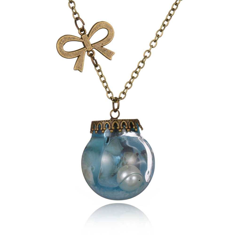New Fashion Sea Ocean Conch Simulated Pearl In Glass Bottle Pendant Necklaces For Women Vintage Long Chain Bow Charm Jewelry(China (Mainland))
