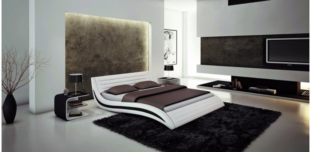 white contemporary modern leather soft bed king si - King Bed Frames Cheap
