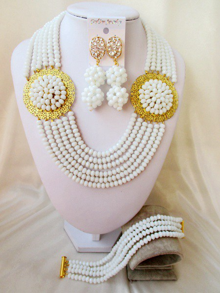 2015 Fashion White african crystal beads necklace set nigerian wedding african beads jewelry set Free shipping P-006<br><br>Aliexpress