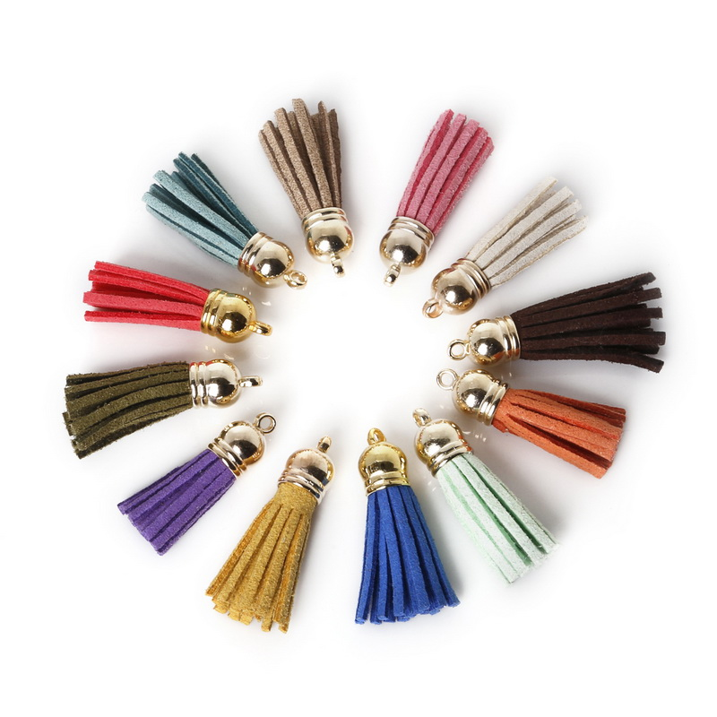 10pcs Mix Color Suede Tassel For Keychain Cellphone Straps Jewelry Charms 38mm Leather Tassels With Plated Caps Diy Accessories(China (Mainland))
