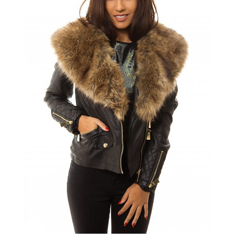 Leather Coat With Fur Collar - Coat Nj