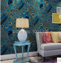wall paper Super Quality-friendly Pure Wallpaper, Wallpapers Roll Peacock Pattern TV Background Home Decor Blue papel de parede(China (Mainland))