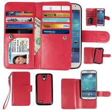 S4 mini/Note2 Magnetic Detachable Wallet Leather Case For Samsung Galaxy S4mini i9190 Flip Cover With Card Slots For NOTE2(China (Mainland))
