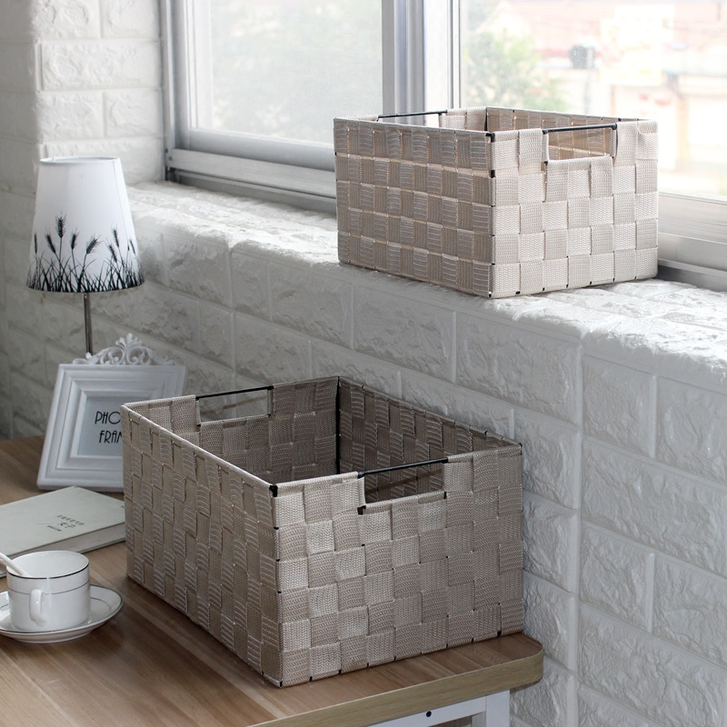 Simple snack storage box creative cover IKEA woven basket storage basket trumpet underwear desktop debris finishing box(China (Mainland))