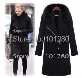 2014 autumn winter women's fashion wool coat long design large size wool jacket large fur collar new arrival overcoat(China (Mainland))
