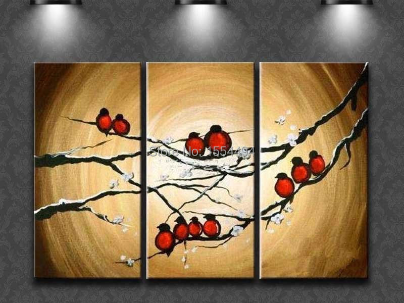 Free shipping hand painted Chinese bird and plum flowers oil painting on canvas 3 p cheap wall picture art Home Decoration T12(China (Mainland))