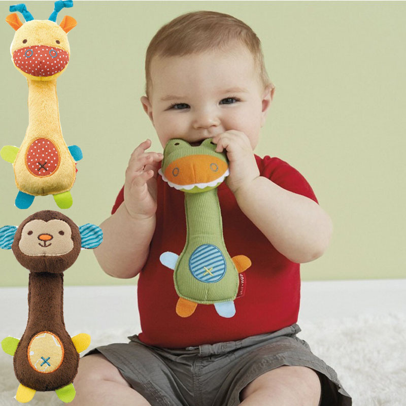 2015 New Arrival Soft Animal Model Handbells Rattles Cute Gift Baby Toy Plush Hand Puppet Stick(China (Mainland))