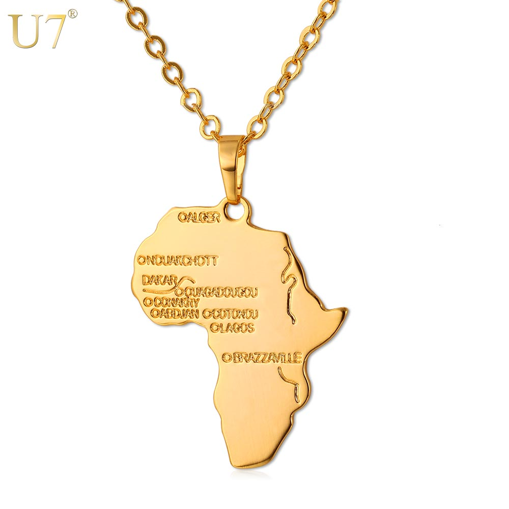 U7 Hiphop Africa Necklace Gift Silver/Gold Color Pendant & Chain Wholesale African Map Men/Women Trendy Jewelry P544(China (Mainland))