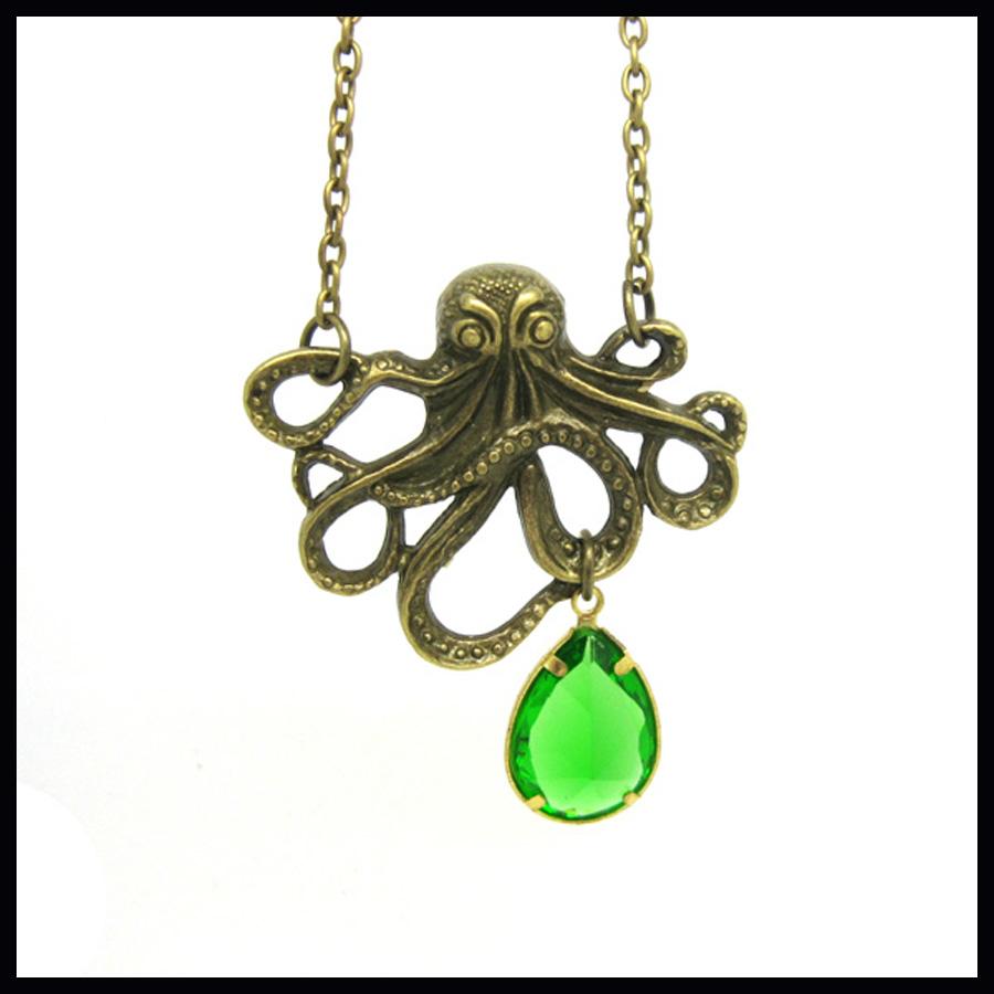 Octopus necklace vintage glass emerald green teardrop raindrop steampunk punk rock nautical ocean pendant antique brass NW385(China (Mainland))