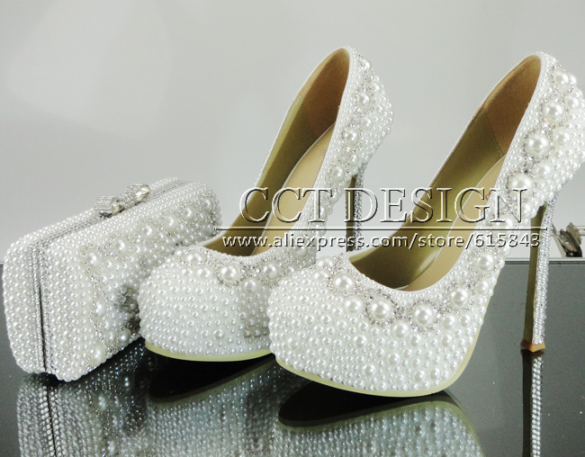sexy lady platform women high heels white wedding bridal pearls italian shoes with matching bags<br><br>Aliexpress