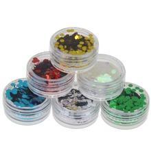 3D Unhas de Acrílico Ferramentas Kit 6 Garrafas Nail Glitter Pó Poeira Hexagon Forma Decorações Nail Art Manicure Ferramentas Unhas WY212