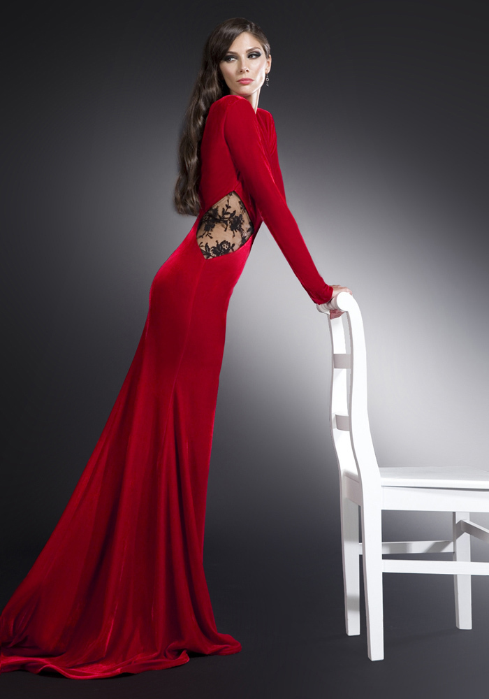 2014 Beautiful Long Sleeve Big Ass Velvet Party Gowns Backless ...